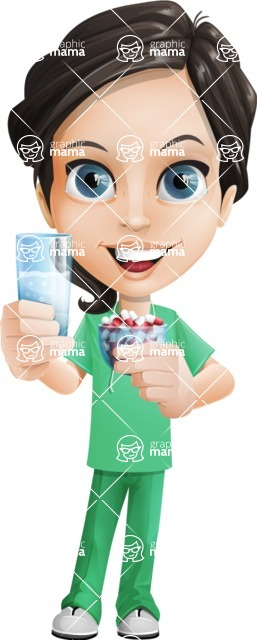 Female Surgeon Vector Cartoon Character AKA Manuela the Medical Intern - Pills 4