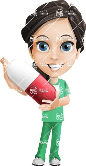 Female Surgeon Vector Cartoon Character AKA Manuela the Medical Intern - Pills 5