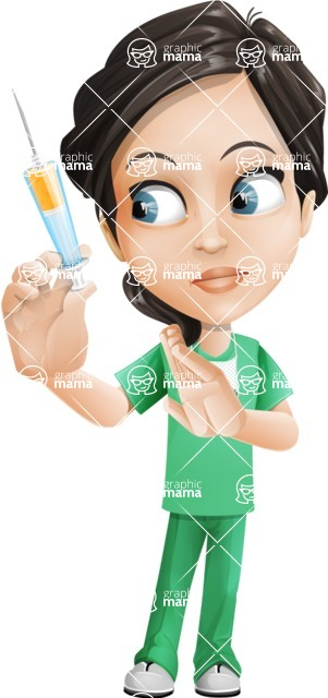 Female Surgeon Vector Cartoon Character AKA Manuela the Medical Intern - Syringe 2