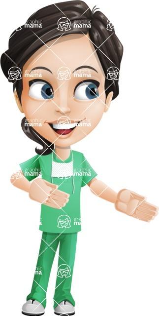 Female Surgeon Vector Cartoon Character AKA Manuela the Medical Intern - Show 1