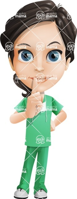 Female Surgeon Vector Cartoon Character AKA Manuela the Medical Intern - Silence