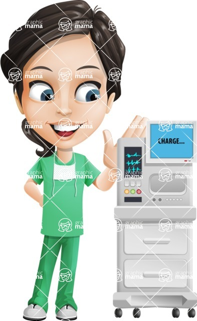 Female Surgeon Vector Cartoon Character AKA Manuela the Medical Intern - Machine