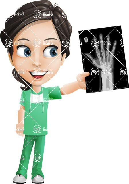 Female Surgeon Vector Cartoon Character AKA Manuela the Medical Intern - Radiography 1