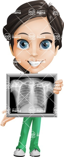 Female Surgeon Vector Cartoon Character AKA Manuela the Medical Intern - Radiography 2