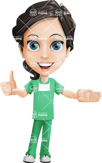 Female Surgeon Vector Cartoon Character AKA Manuela the Medical Intern - Show 2