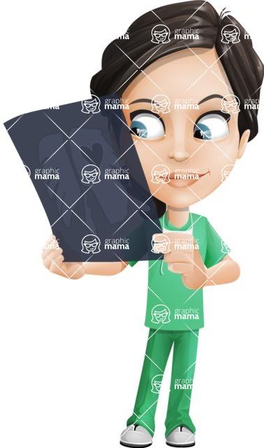 Female Surgeon Vector Cartoon Character AKA Manuela the Medical Intern - Radiography 4