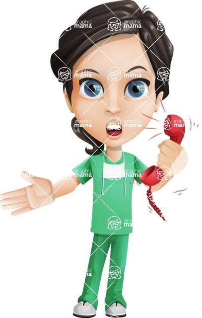 Female Surgeon Vector Cartoon Character AKA Manuela the Medical Intern - Emergency Call 2