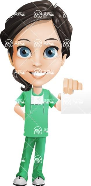 Female Surgeon Vector Cartoon Character AKA Manuela the Medical Intern - Sign 1