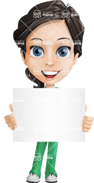 Female Surgeon Vector Cartoon Character AKA Manuela the Medical Intern - Sign 2