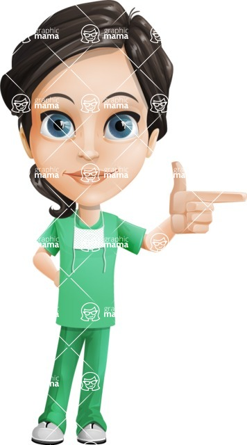 Female Surgeon Vector Cartoon Character AKA Manuela the Medical Intern - Point 1