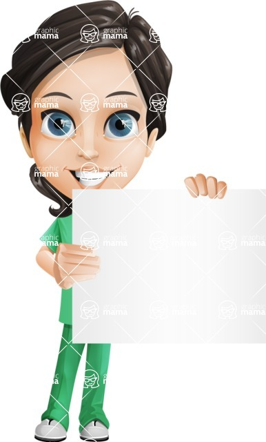 Female Surgeon Vector Cartoon Character AKA Manuela the Medical Intern - Sign 4