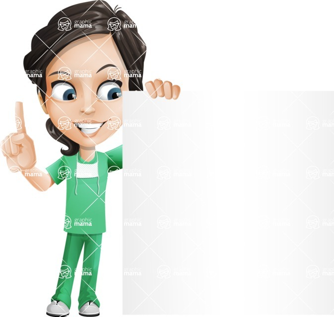 Female Surgeon Vector Cartoon Character AKA Manuela the Medical Intern - Sign 8
