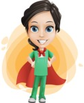 Female Surgeon Vector Cartoon Character AKA Manuela the Medical Intern - Shape 9