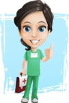 Female Surgeon Vector Cartoon Character AKA Manuela the Medical Intern - Shape 11