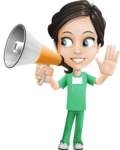Female Surgeon Vector Cartoon Character AKA Manuela the Medical Intern - Loudspeaker