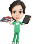 Female Surgeon Vector Cartoon Character AKA Manuela the Medical Intern - Books vs iPad