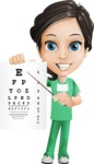 Female Surgeon Vector Cartoon Character AKA Manuela the Medical Intern - Eye Chart