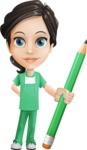 Female Surgeon Vector Cartoon Character AKA Manuela the Medical Intern - Pencil