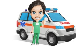 Female Surgeon Vector Cartoon Character AKA Manuela the Medical Intern - Ambulance