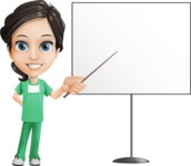 Female Surgeon Vector Cartoon Character AKA Manuela the Medical Intern - Presentation 1
