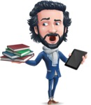 Stylish Man Cartoon Character: Classic Blue Edition 2020 - Choosing between Book and Tablet