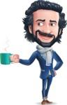Stylish Man Cartoon Character: Classic Blue Edition 2020 - Drinking Coffee