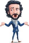 Stylish Man Cartoon Character: Classic Blue Edition 2020 - Feeling Lost