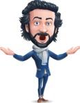 Stylish Man Cartoon Character: Classic Blue Edition 2020 - Feeling Shocked
