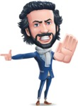 Stylish Man Cartoon Character: Classic Blue Edition 2020 - Finger pointing with angry face