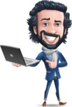 Stylish Man Cartoon Character: Classic Blue Edition 2020 - Holding a laptop