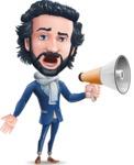 Stylish Man Cartoon Character: Classic Blue Edition 2020 - Holding a Loudspeaker
