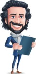 Stylish Man Cartoon Character: Classic Blue Edition 2020 - Holding a notepad