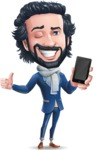 Stylish Man Cartoon Character: Classic Blue Edition 2020 - Holding a smartphone
