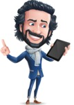 Stylish Man Cartoon Character: Classic Blue Edition 2020 - Holding an iPad