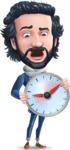 Stylish Man Cartoon Character: Classic Blue Edition 2020 - Holding clock