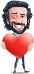 Stylish Man Cartoon Character: Classic Blue Edition 2020 - Holding heart