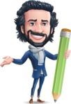 Stylish Man Cartoon Character: Classic Blue Edition 2020 - Holding Pencil