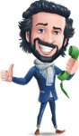 Stylish Man Cartoon Character: Classic Blue Edition 2020 - Holding phone with thumbs up
