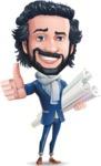 Stylish Man Cartoon Character: Classic Blue Edition 2020 - Holding Plans
