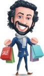 Stylish Man Cartoon Character: Classic Blue Edition 2020 - Holding shopping bags