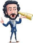 Stylish Man Cartoon Character: Classic Blue Edition 2020 - Looking through telescope