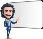 Stylish Man Cartoon Character: Classic Blue Edition 2020 - Making a Presentation on a Blank white board
