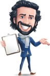 Stylish Man Cartoon Character: Classic Blue Edition 2020 - Making thumbs up with notepad