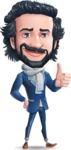 Stylish Man Cartoon Character: Classic Blue Edition 2020 - Making Thumbs Up