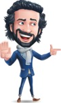 Stylish Man Cartoon Character: Classic Blue Edition 2020 - Pointing with a fnger
