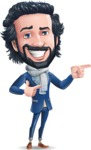 Stylish Man Cartoon Character: Classic Blue Edition 2020 - Pointing with both hands