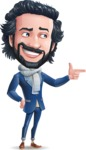 Stylish Man Cartoon Character: Classic Blue Edition 2020 - Pointing with left hand