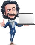 Stylish Man Cartoon Character: Classic Blue Edition 2020 - Presenting on laptop