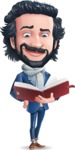 Stylish Man Cartoon Character: Classic Blue Edition 2020 - Reading a book