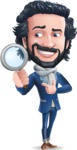 Stylish Man Cartoon Character: Classic Blue Edition 2020 - Searching with magnifying glass